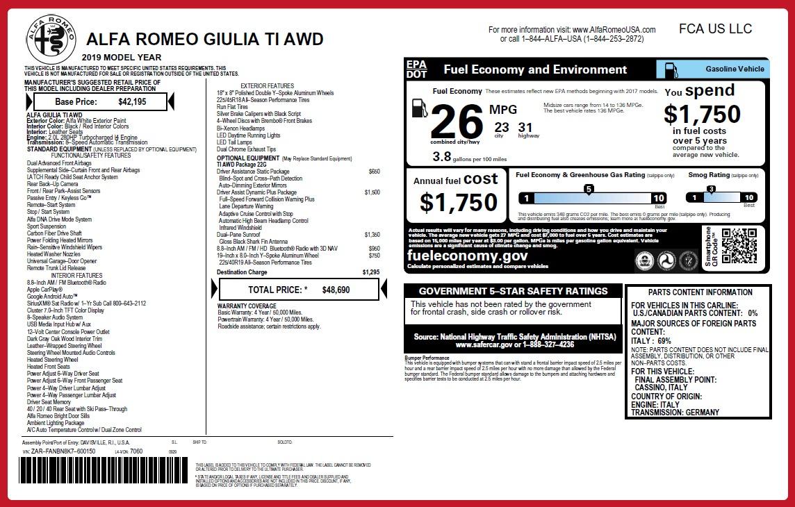 New 2019 Alfa Romeo Giulia Ti Q4   Greenwich, CT