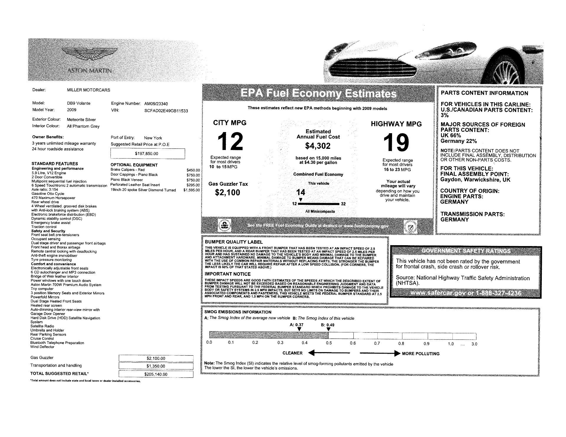 Used 2009 Aston Martin DB9 Convertible | Greenwich, CT