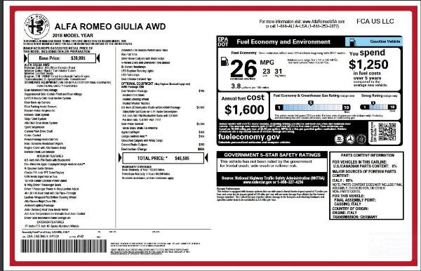 New 2018 Alfa Romeo Giulia for sale Sold at McLaren Greenwich in Greenwich CT 06830 2