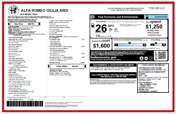 New 2018 Alfa Romeo Giulia Q4 for sale Sold at McLaren Greenwich in Greenwich CT 06830 2