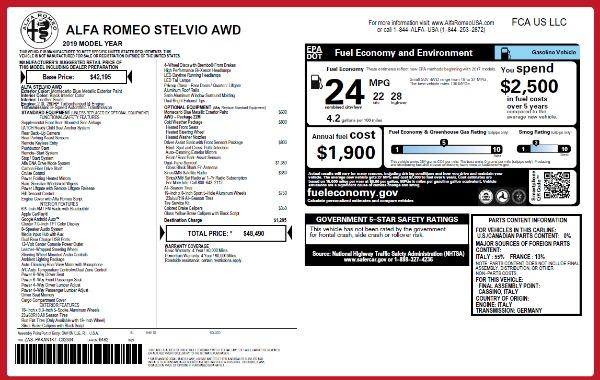 New 2019 Alfa Romeo Stelvio Q4 for sale Sold at McLaren Greenwich in Greenwich CT 06830 2
