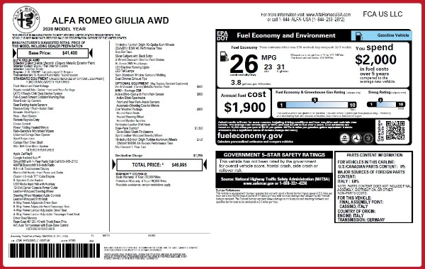 New 2020 Alfa Romeo Giulia Q4 for sale $46,995 at McLaren Greenwich in Greenwich CT 06830 2