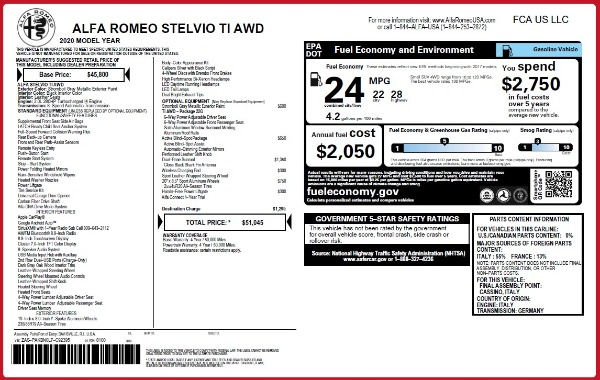 New 2020 Alfa Romeo Stelvio Ti Q4 for sale $51,045 at McLaren Greenwich in Greenwich CT 06830 2