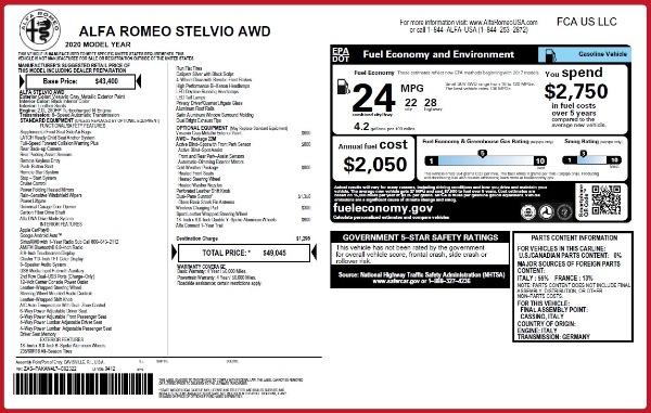 New 2020 Alfa Romeo Stelvio Q4 for sale $49,045 at McLaren Greenwich in Greenwich CT 06830 2