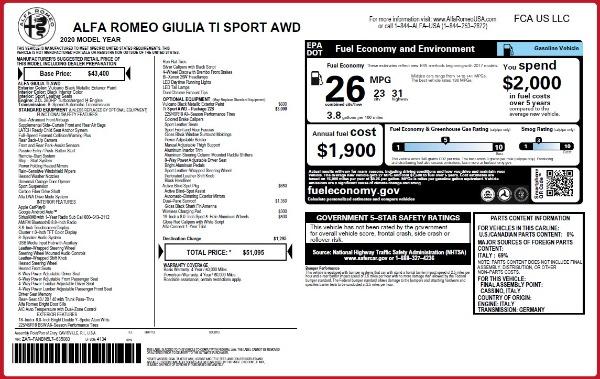 New 2020 Alfa Romeo Giulia Ti Sport Q4 for sale $51,095 at McLaren Greenwich in Greenwich CT 06830 2
