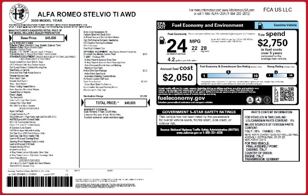 New 2020 Alfa Romeo Stelvio Ti Q4 for sale Sold at McLaren Greenwich in Greenwich CT 06830 2