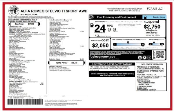 New 2021 Alfa Romeo Stelvio Ti Sport for sale $55,950 at McLaren Greenwich in Greenwich CT 06830 2