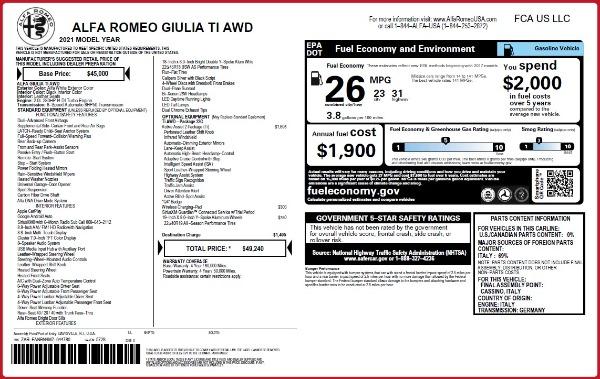 New 2021 Alfa Romeo Giulia Ti Q4 for sale $49,240 at McLaren Greenwich in Greenwich CT 06830 2