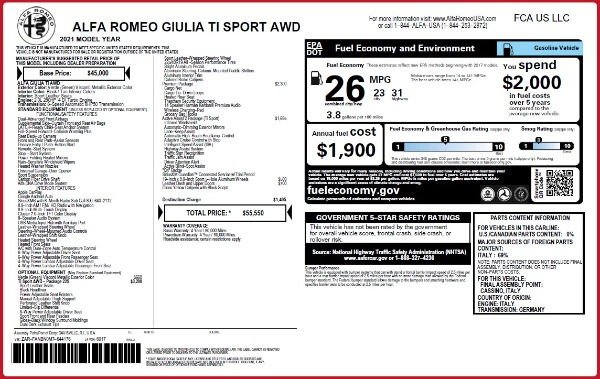 New 2021 Alfa Romeo Giulia Ti Sport Q4 for sale $55,550 at McLaren Greenwich in Greenwich CT 06830 2