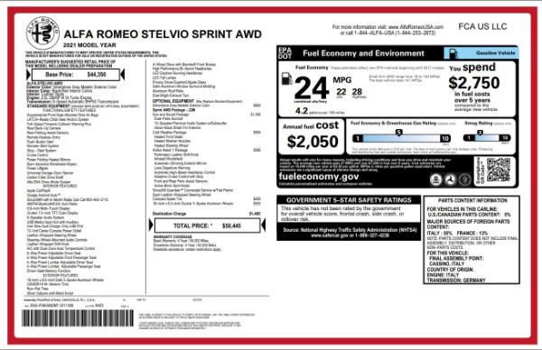 New 2021 Alfa Romeo Stelvio Q4 for sale $49,845 at McLaren Greenwich in Greenwich CT 06830 2