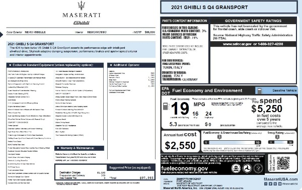 New 2021 Maserati Ghibli S Q4 GranSport for sale $97,985 at McLaren Greenwich in Greenwich CT 06830 2