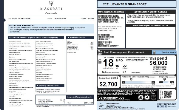 New 2021 Maserati Levante S Q4 GranSport for sale $104,835 at McLaren Greenwich in Greenwich CT 06830 2