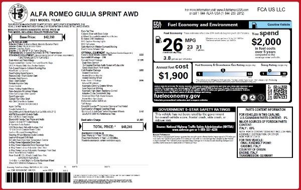 New 2021 Alfa Romeo Giulia Q4 for sale $48,245 at McLaren Greenwich in Greenwich CT 06830 2