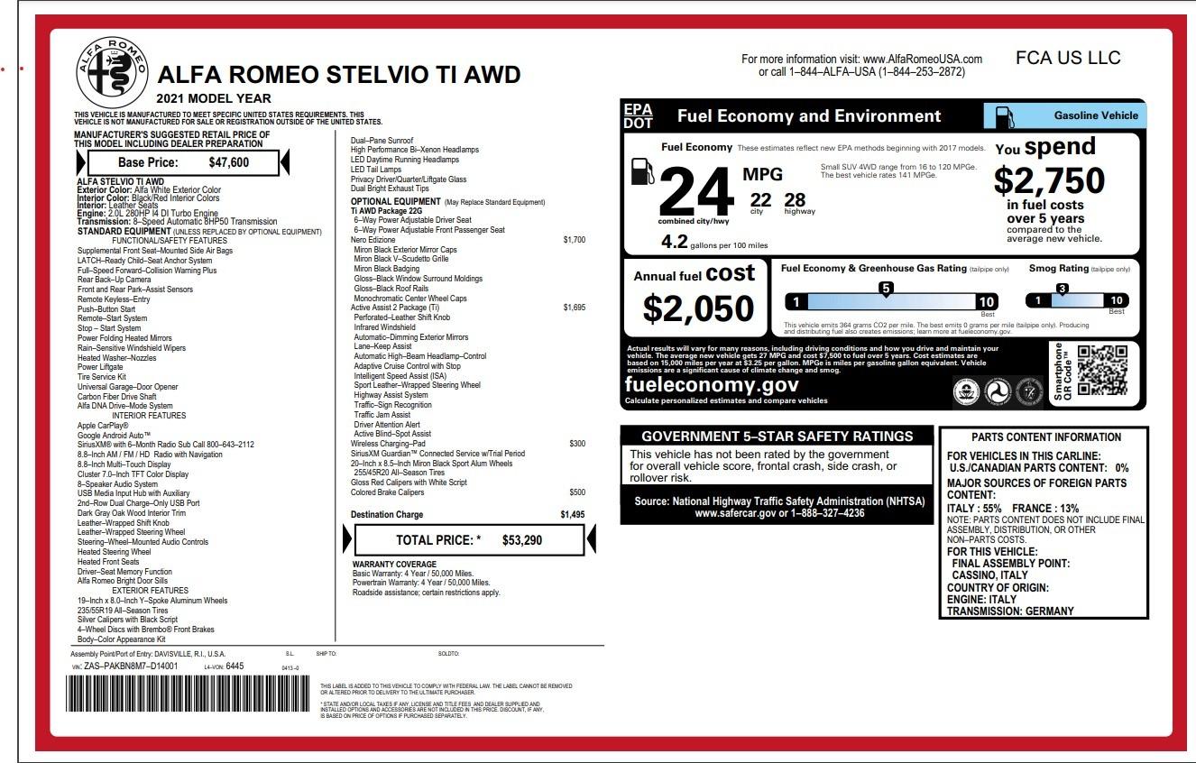 New 2021 Alfa Romeo Stelvio Ti for sale Sold at McLaren Greenwich in Greenwich CT 06830 1