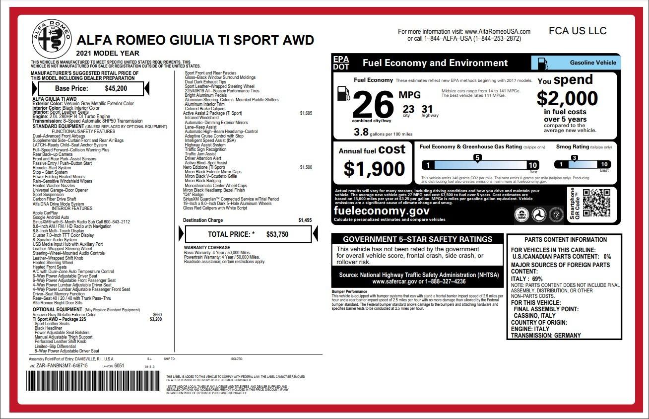 New 2021 Alfa Romeo Giulia Ti Sport for sale $53,750 at McLaren Greenwich in Greenwich CT 06830 1
