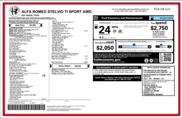 New 2021 Alfa Romeo Stelvio Ti Sport for sale Call for price at McLaren Greenwich in Greenwich CT 06830 2