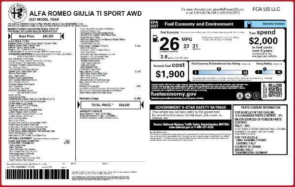 New 2021 Alfa Romeo Giulia Ti Sport Q4 for sale $54,050 at McLaren Greenwich in Greenwich CT 06830 2