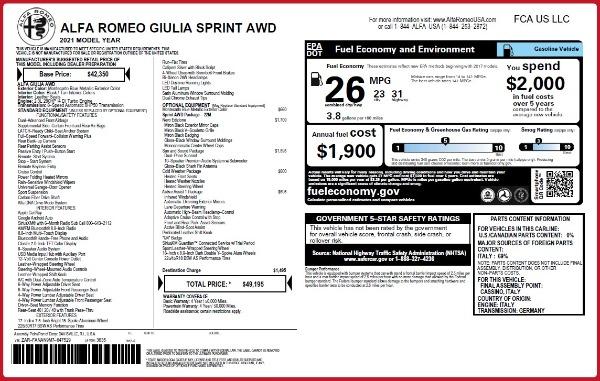 New 2021 Alfa Romeo Giulia Q4 for sale $49,195 at McLaren Greenwich in Greenwich CT 06830 2