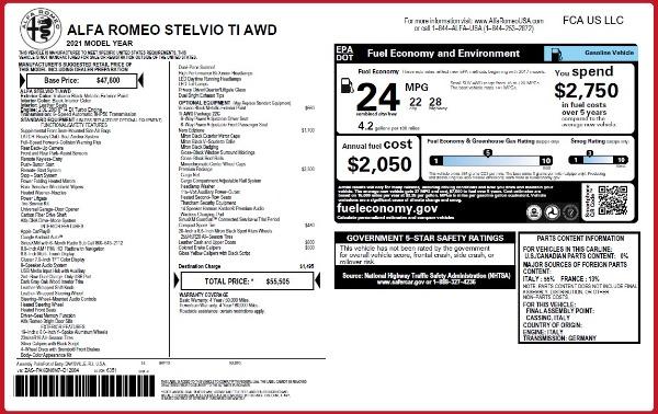 New 2021 Alfa Romeo Stelvio Ti Q4 for sale $55,505 at McLaren Greenwich in Greenwich CT 06830 2