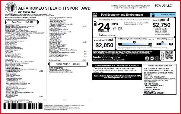 New 2021 Alfa Romeo Stelvio Ti Sport Q4 for sale $60,000 at McLaren Greenwich in Greenwich CT 06830 2