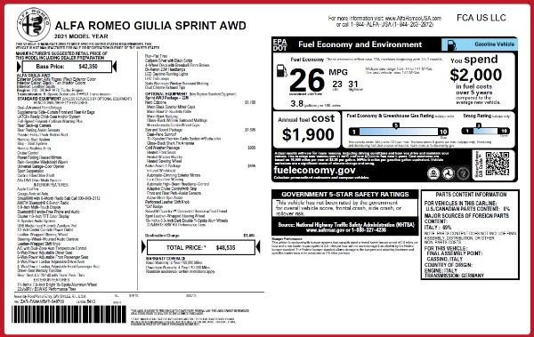 New 2021 Alfa Romeo Giulia Q4 for sale $48,535 at McLaren Greenwich in Greenwich CT 06830 2