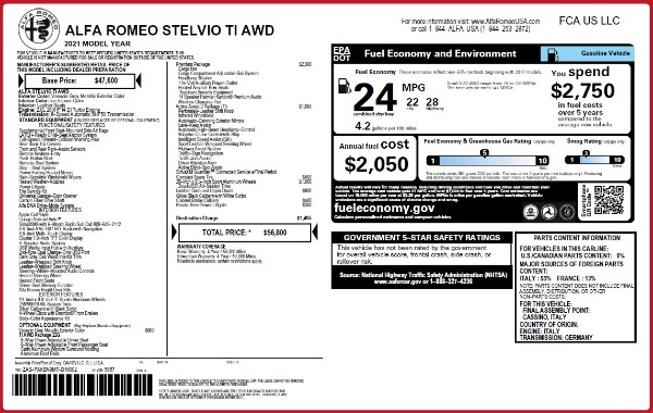 New 2021 Alfa Romeo Stelvio Ti Q4 for sale $56,800 at McLaren Greenwich in Greenwich CT 06830 2