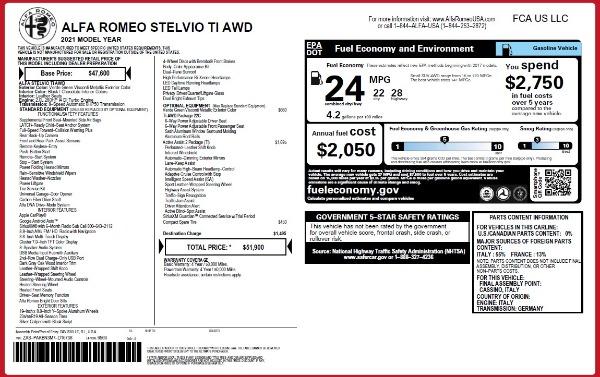 New 2021 Alfa Romeo Stelvio Ti Q4 for sale $51,900 at McLaren Greenwich in Greenwich CT 06830 2