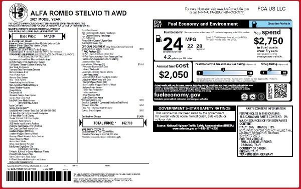 New 2021 Alfa Romeo Stelvio Ti Q4 for sale $52,700 at McLaren Greenwich in Greenwich CT 06830 2