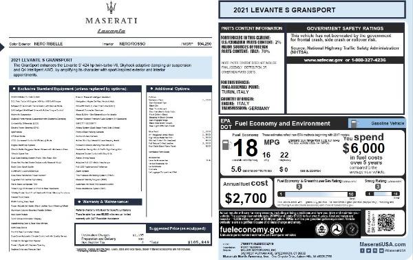 New 2021 Maserati Levante S Q4 GranSport for sale $105,849 at McLaren Greenwich in Greenwich CT 06830 2