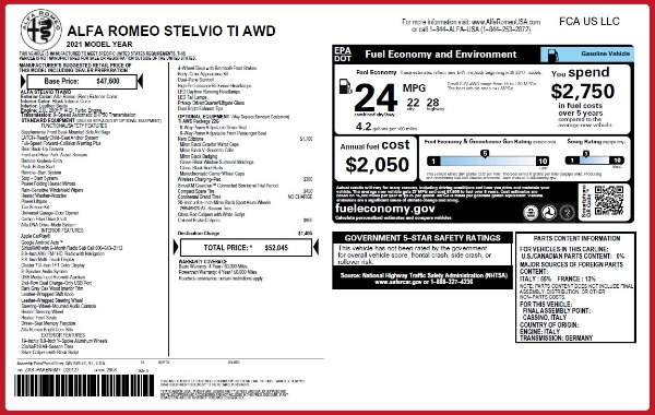 New 2021 Alfa Romeo Stelvio Ti Q4 for sale $52,045 at McLaren Greenwich in Greenwich CT 06830 2