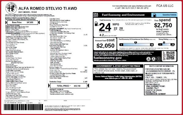 New 2021 Alfa Romeo Stelvio Ti Q4 for sale $53,740 at McLaren Greenwich in Greenwich CT 06830 2