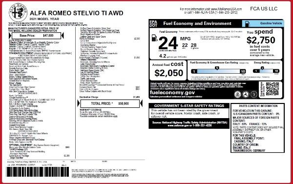 New 2021 Alfa Romeo Stelvio Ti Q4 for sale $56,900 at McLaren Greenwich in Greenwich CT 06830 2