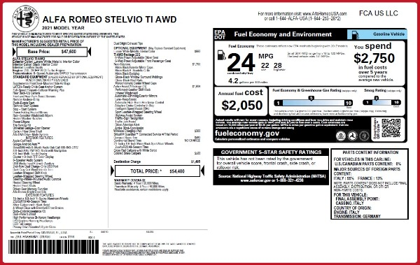 New 2021 Alfa Romeo Stelvio Ti Q4 for sale $54,400 at McLaren Greenwich in Greenwich CT 06830 2