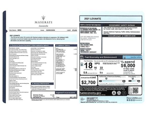 New 2021 Maserati Levante for sale $87,625 at McLaren Greenwich in Greenwich CT 06830 2