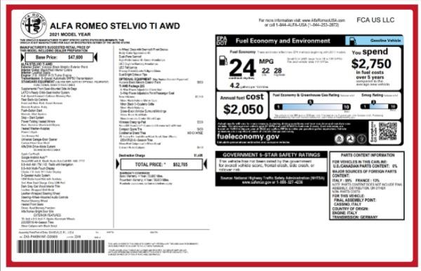 New 2021 Alfa Romeo Stelvio Ti for sale $52,705 at McLaren Greenwich in Greenwich CT 06830 2