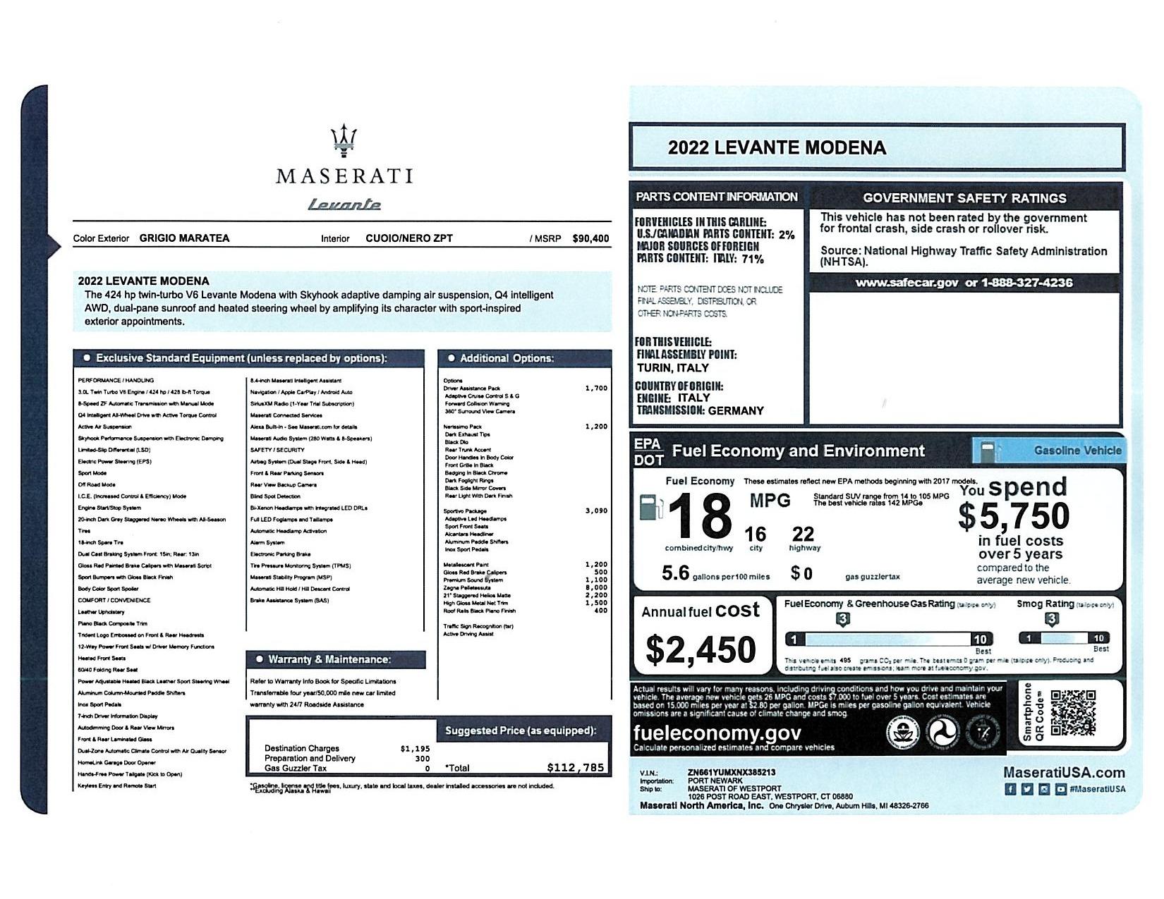 New 2022 Maserati Levante Modena for sale $112,785 at McLaren Greenwich in Greenwich CT 06830 1